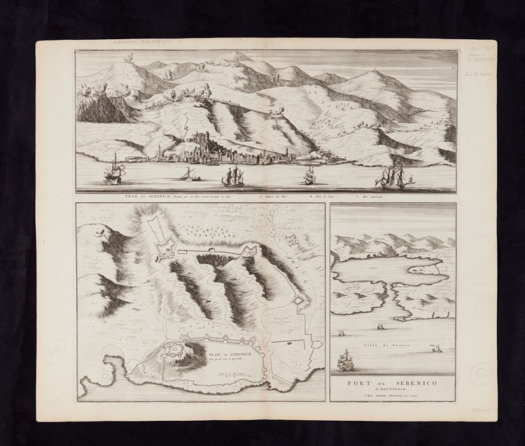 Joan Blaeu, Šibenik harbour and fortification system, mid 17th century, printed by Pierr Mortier, 1704
